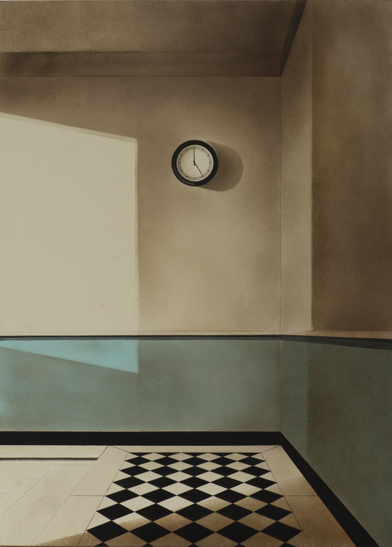 Arduino Cantafora, Atto Unico I, 2016, olio su tavola, 50×35 cm