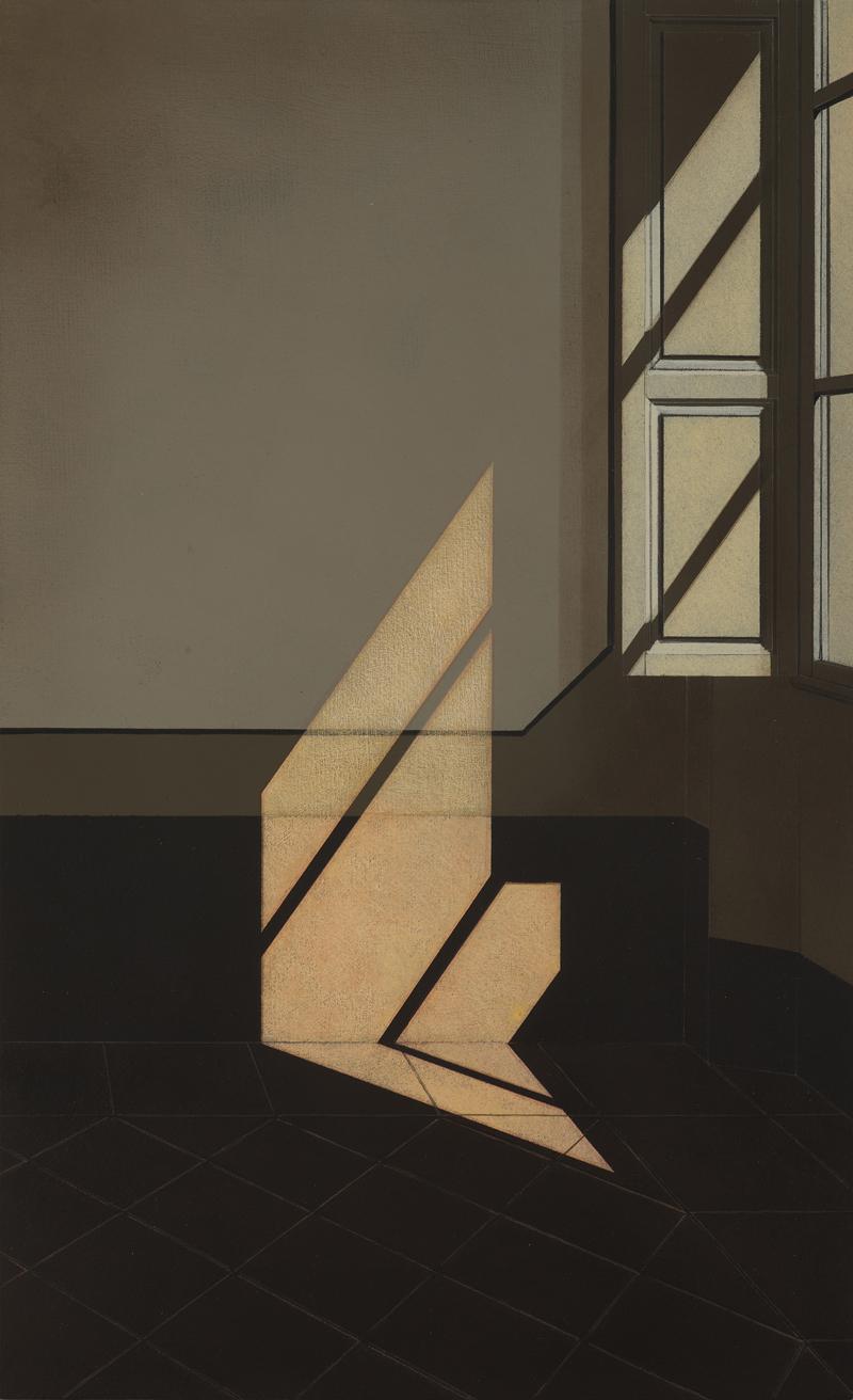 Arduino Cantafora, Interno II, 2016, vinilico e olio su tavola, 50×30 cm