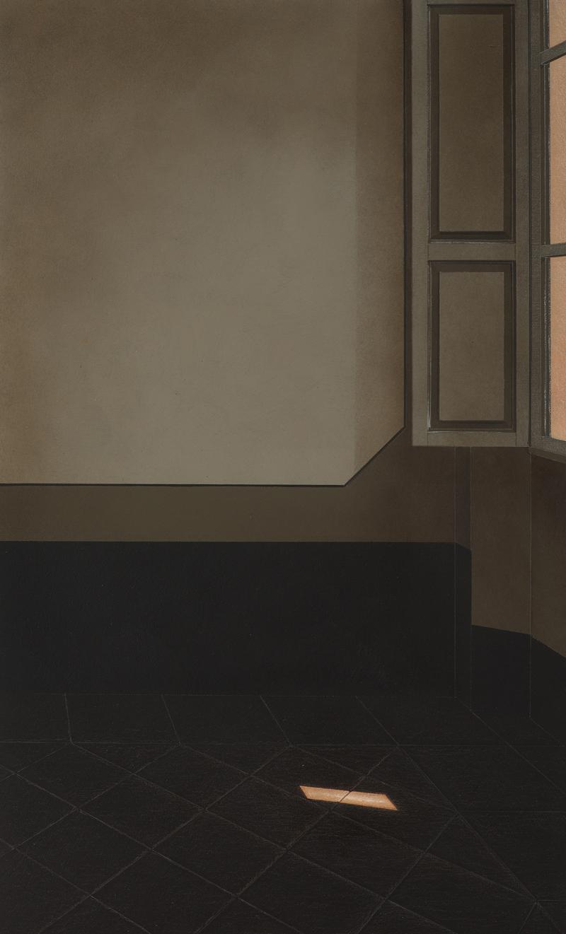 Arduino Cantafora, Interno III, 2016,  vinilico e olio su tavola, 50×30 cm