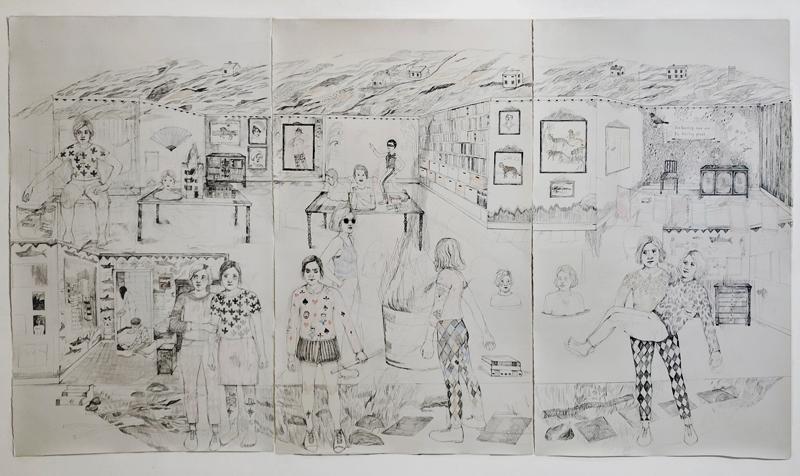 Erika Nordqvist, I am leaving now and I'm feeling great, 2018, pastelli e matita su carta , 194×343, 5 cm