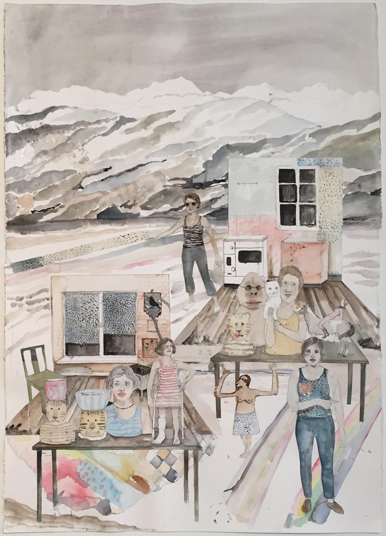 Erika Nordqvist, Untitled, 2018, collage e tecnica mista su carta, 100×70 cm