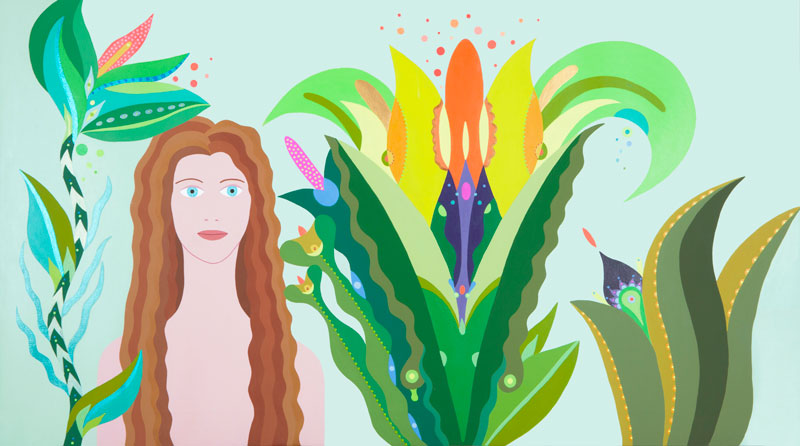 Fulvia-Mendini,-L'incantatrice,-2016,-acrilico-su-tela,-69×123-cm
