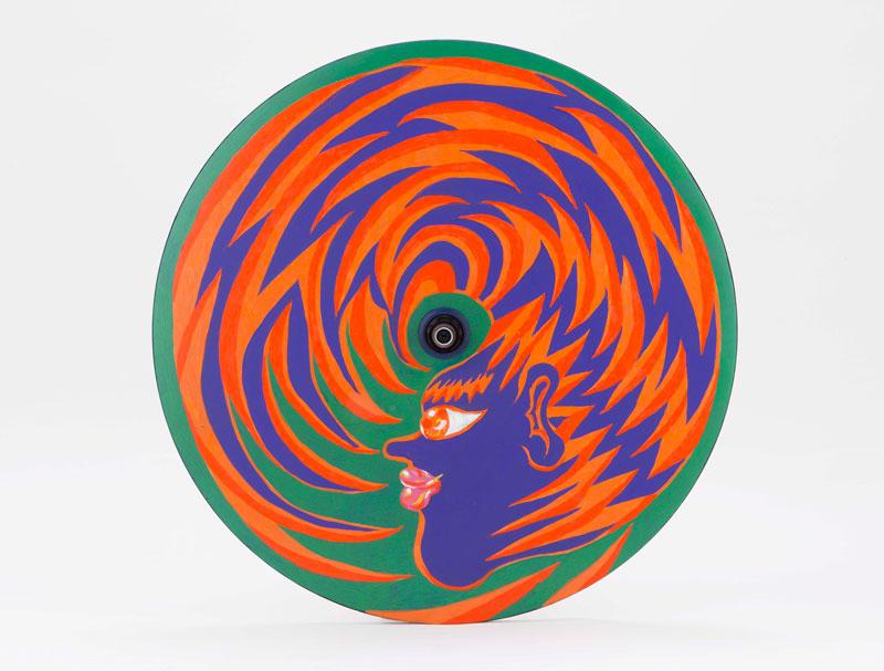 Ana Benaroya, Untitled, 2020, painted lenticular wheel, diam 63 cm