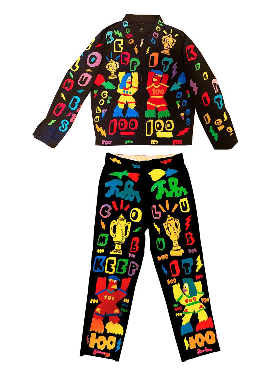 Sam Binkow, Keep it 100, 2020, mixed fabrics on cotton suit