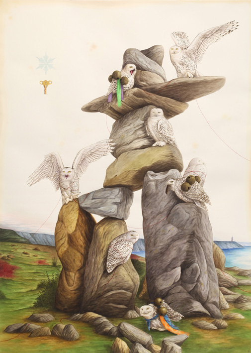El Gato Chimney, Window to the north, 2018, watercolors and mixed media on paper, 153×110 cm