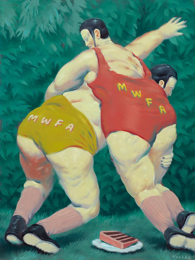 Ryan-Heshka,-#MWFA-(Men-with-fat-asses),-2018,-oil-on-cradled-wood-panel,-30×22-cm