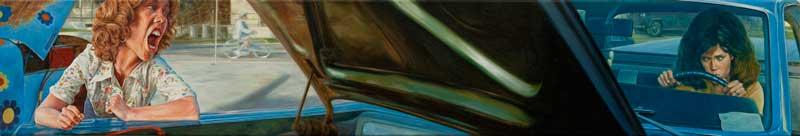 Eric White, 1967 Ford Ranchero (Coming Home), 2011, olio su tela, 20,30×116,8 cm