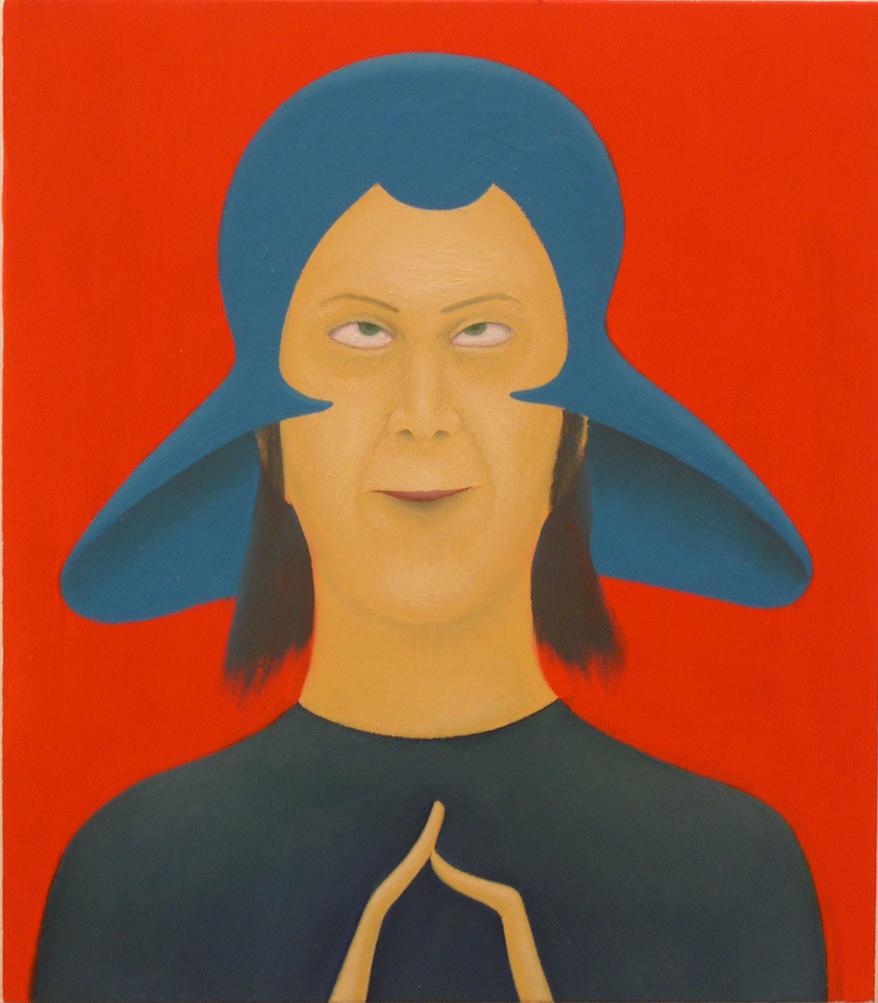 Giuliano Guatta, L'uomo venuto dallo spazio, 2003, cm 40×35, olio su tavola