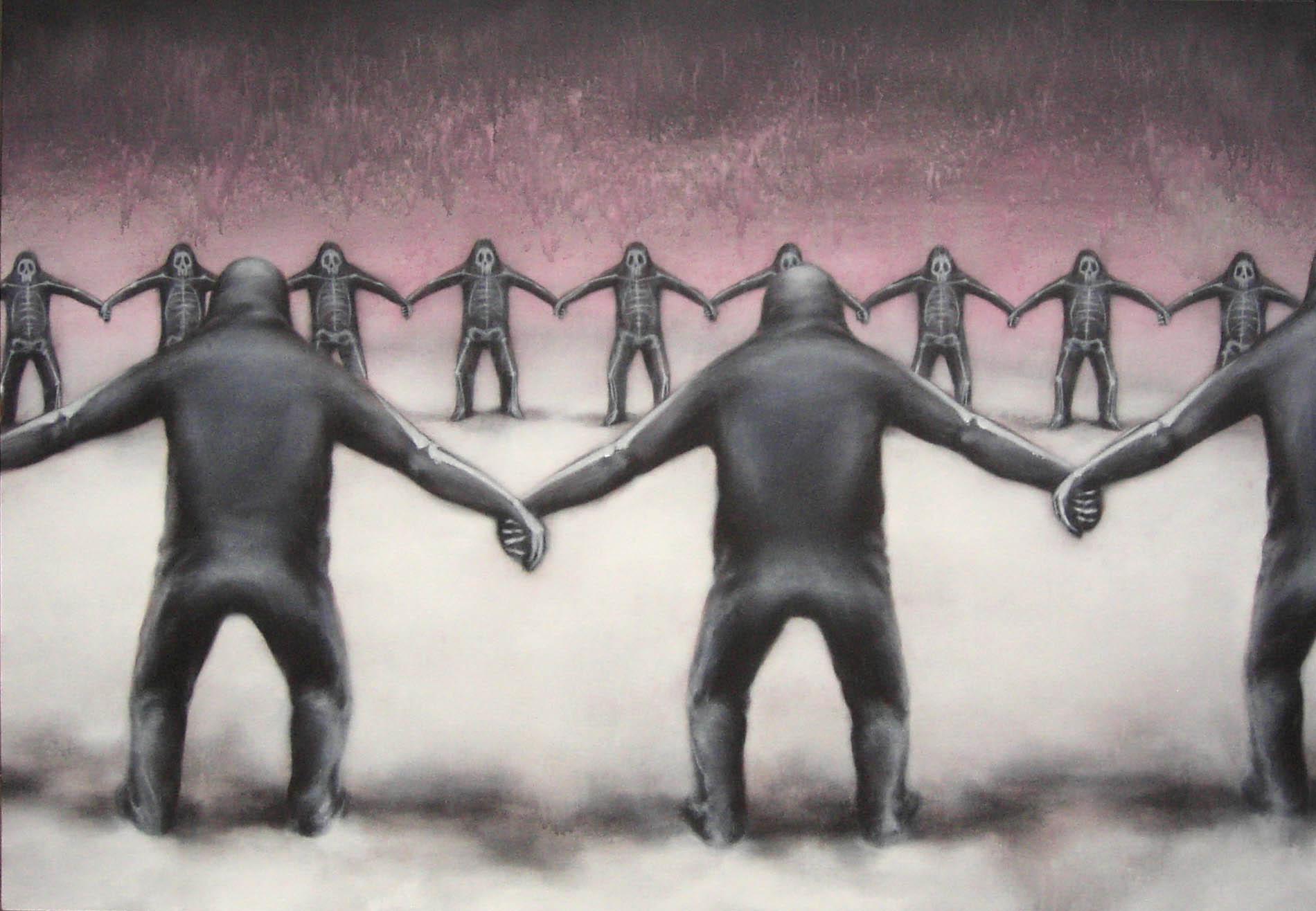 Luigi Presicce, Ghost dance, 2005, acrilico su tessuto, 125×180 cm