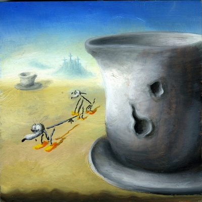 Olinsky,Pomeriggio D'amore Di Fido E Fida, Olio Su Tela, 15×15 Cm