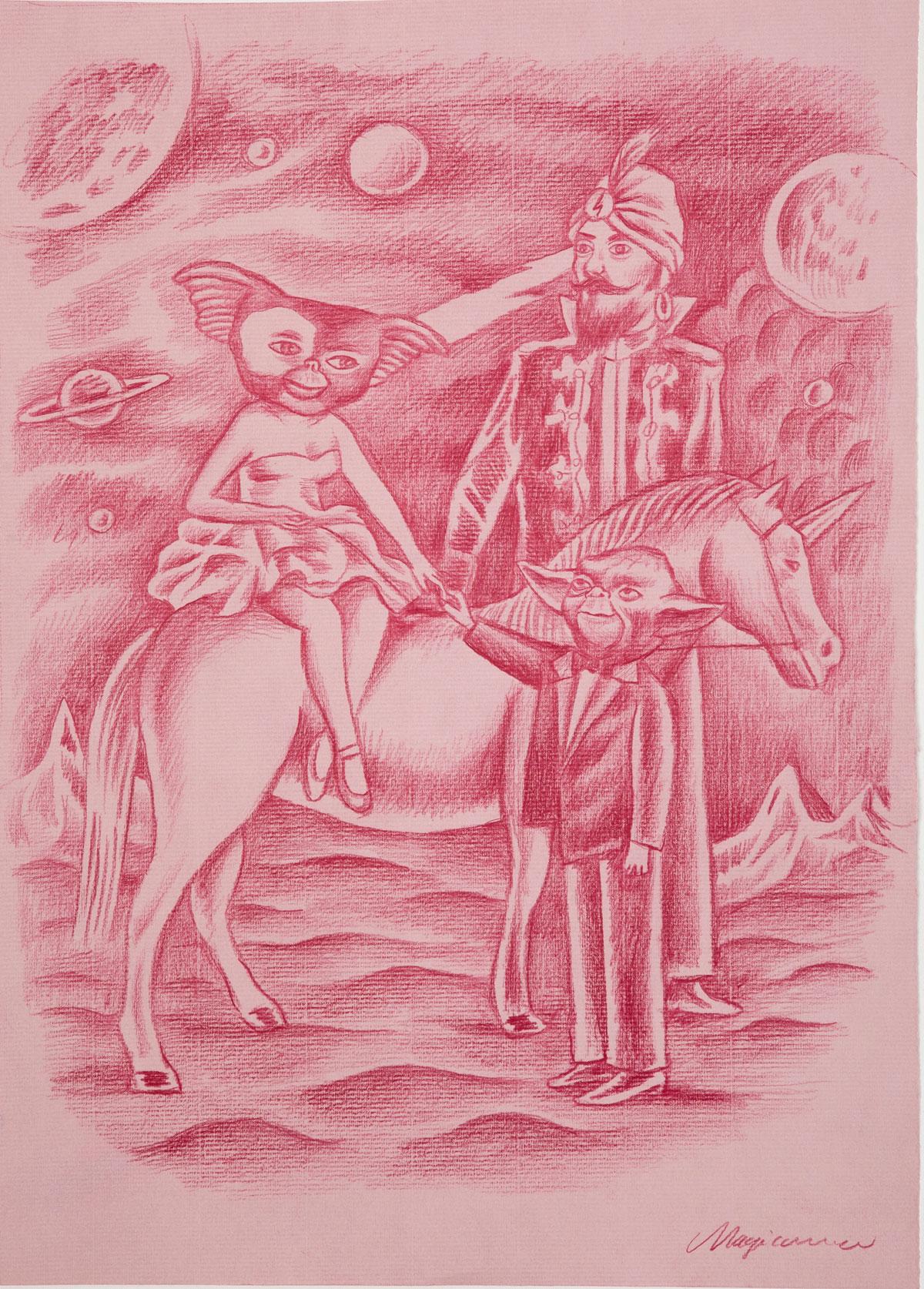Sergio Mora, Ask to Zoltar, 2019, pencil on paper, 42x30 cm