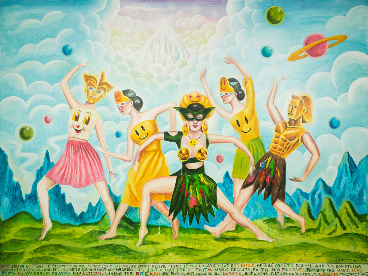 Sergio Mora, Supersonic Cosmic Dancers, 2020, oil on canvas, 150x200 cm
