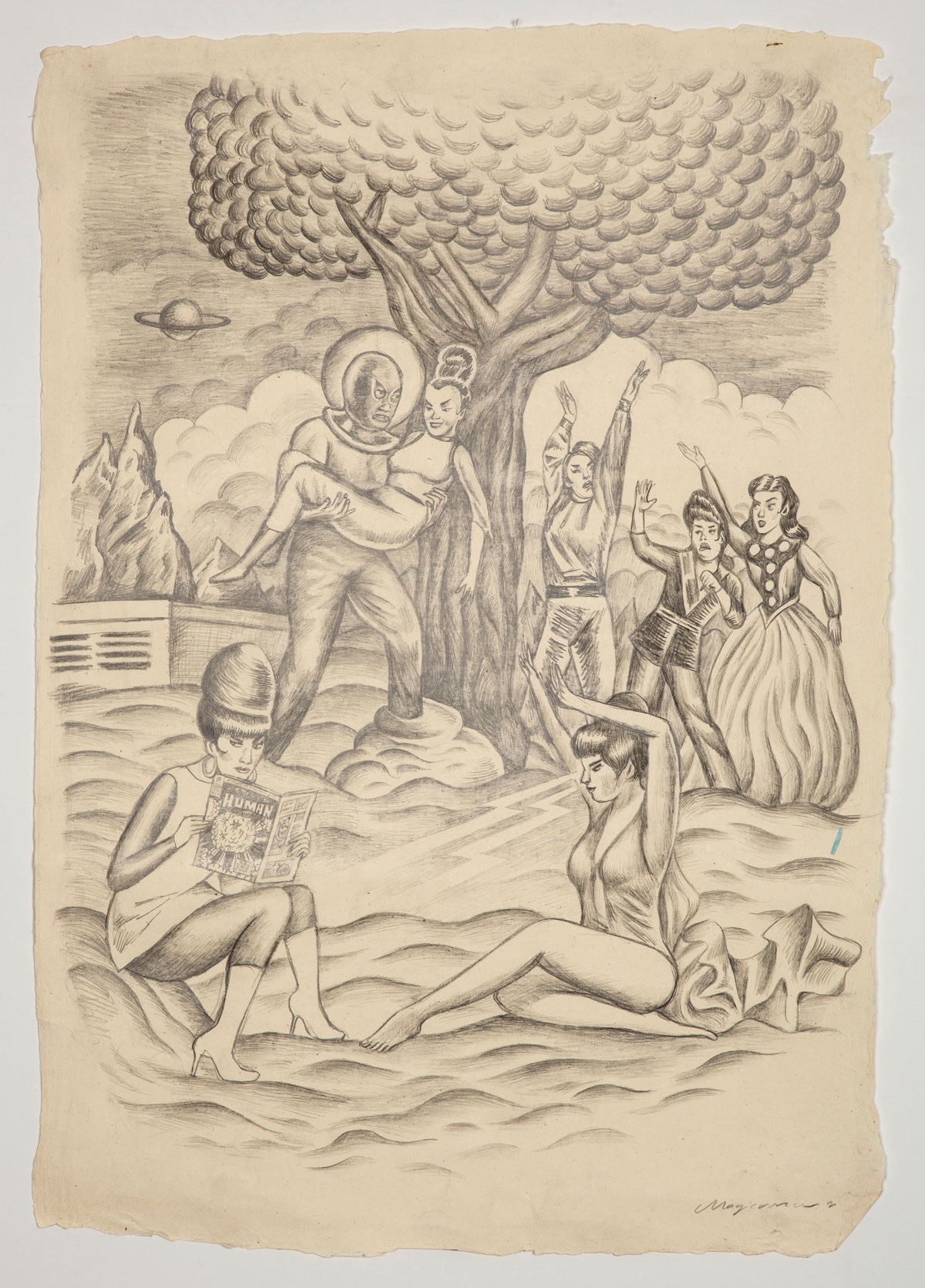 Sergio Mora, We don´t wanna heroes, 2019, pencil on paper, 80x55 cm