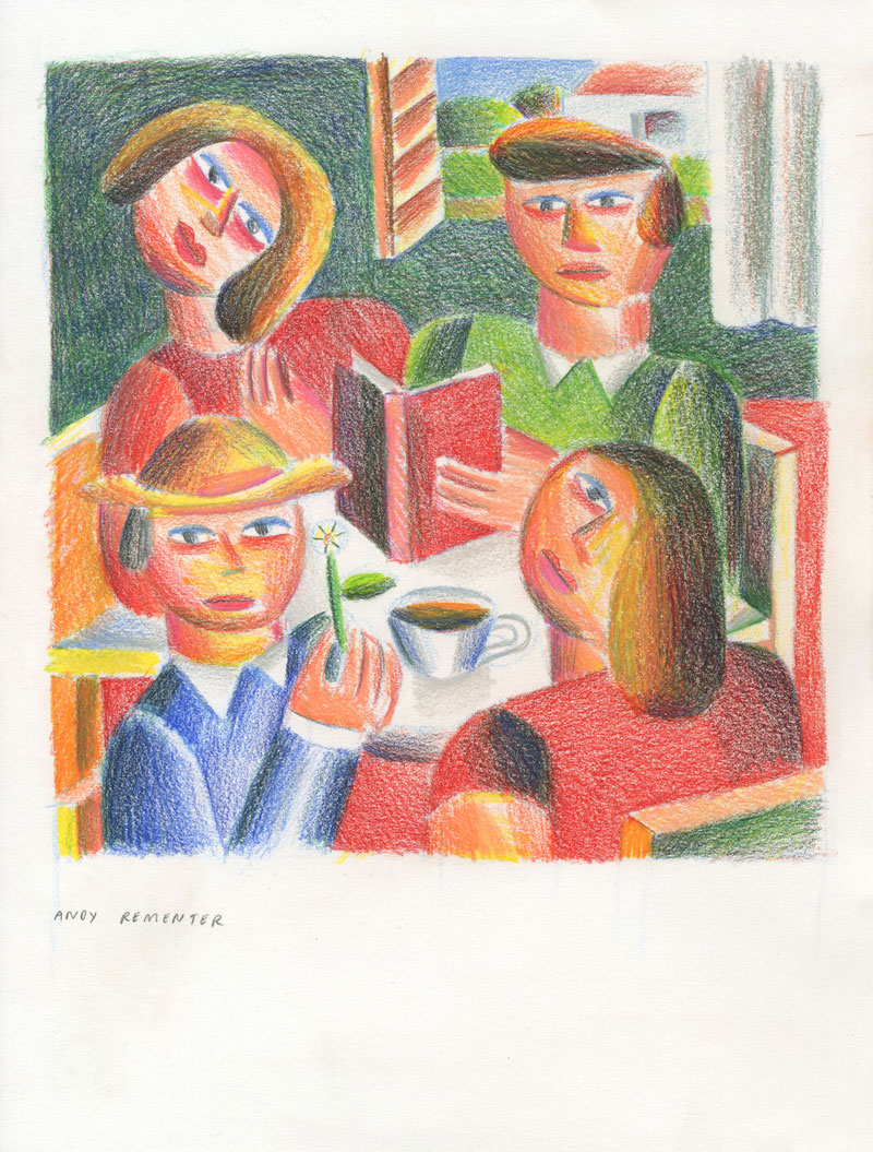 Andy Rementer, Book Club, 2020, colored pencil on paper, 30,5 x 22,9 cm