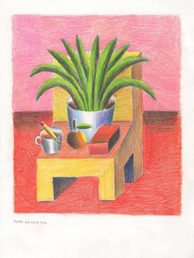 Andy Rementer, Chair with aloe, 2020, colored pencil on paper, 30,5 x 22,9 cm