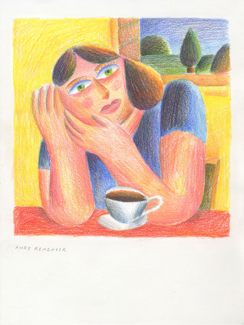 Andy Rementer, Coffee Break, 2020, colored pencil on paper, 30,5 x 22,9 cm