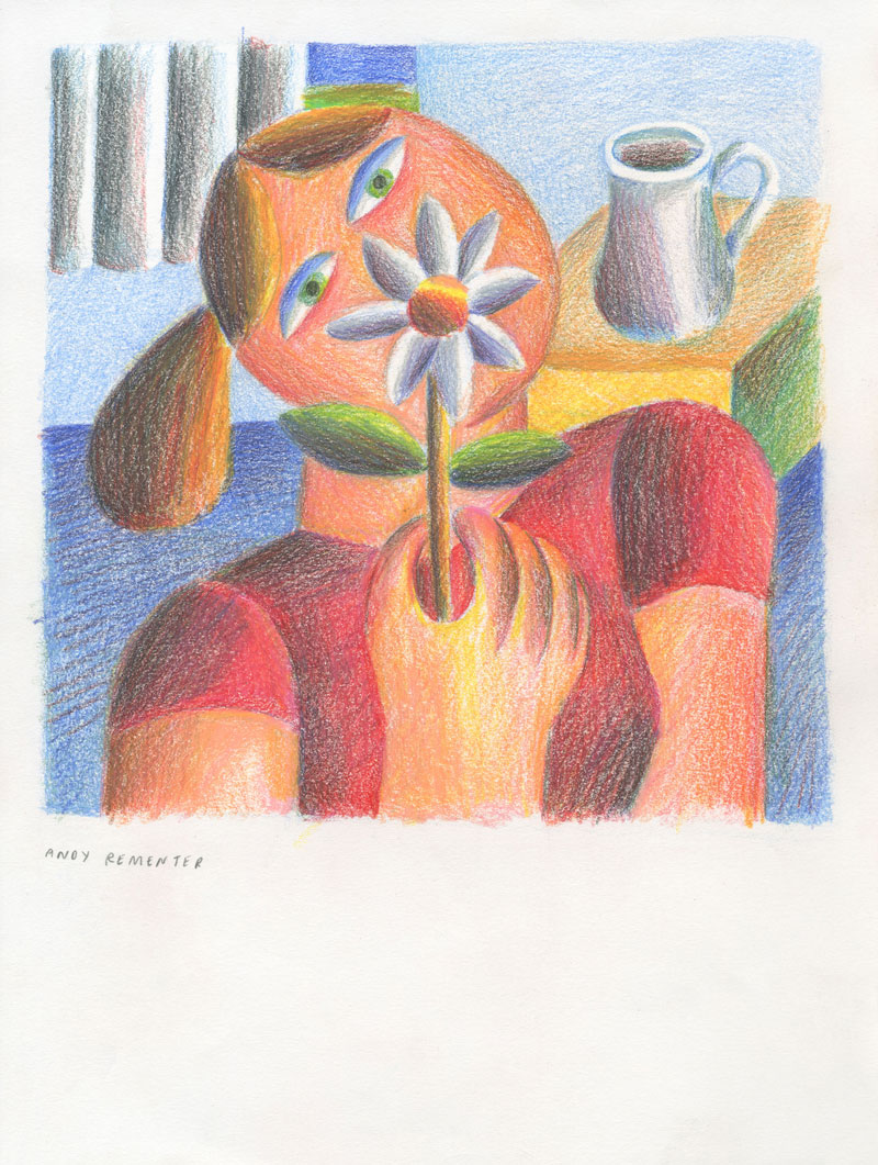 Andy Rementer, Flower Girl, 2020, colored pencil on paper, 30,5x22,9 cm