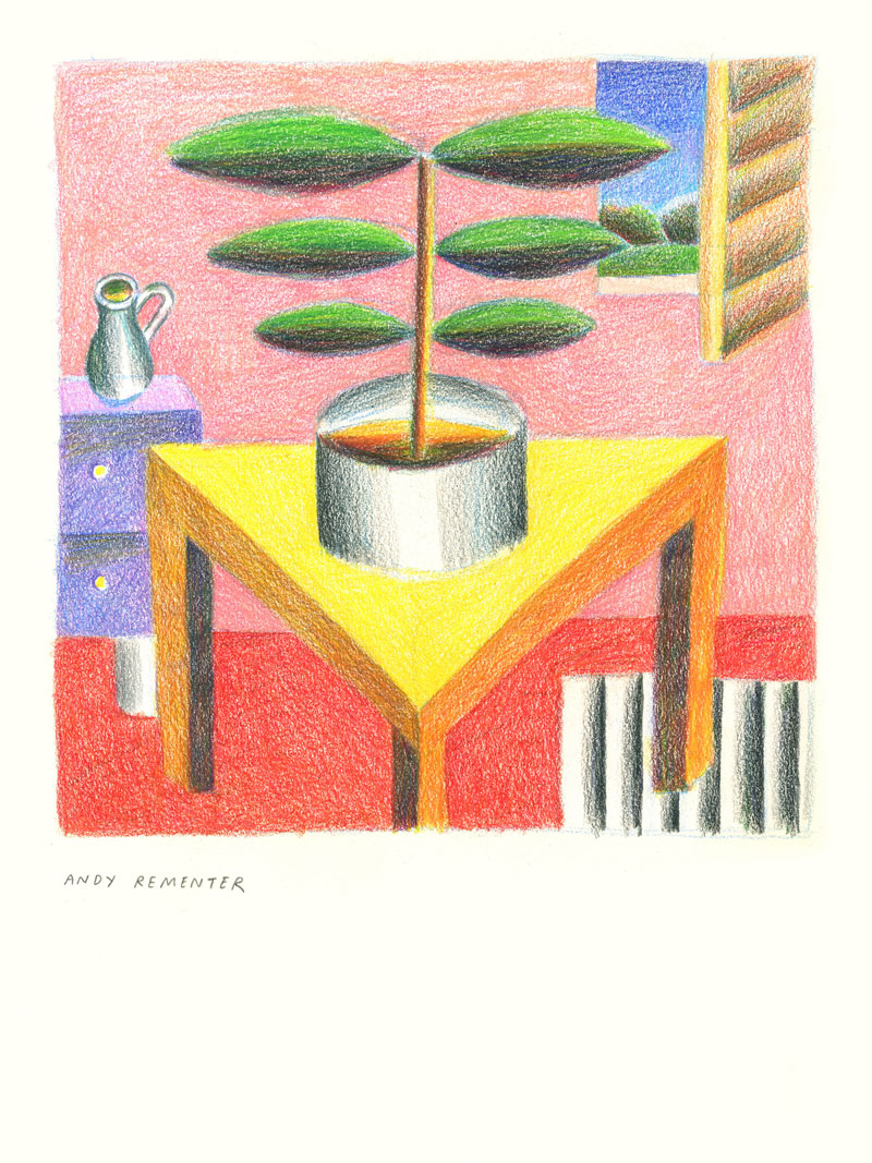 Andy Rementer, Triangle Table, 2020, colored pencil on paper, 30,5 x 22,9 cm