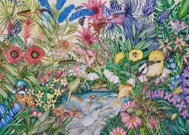 Berglind Svavardottir, Hide and Seek XXXIV, 2021, watercolor on paper, 50x70 cm