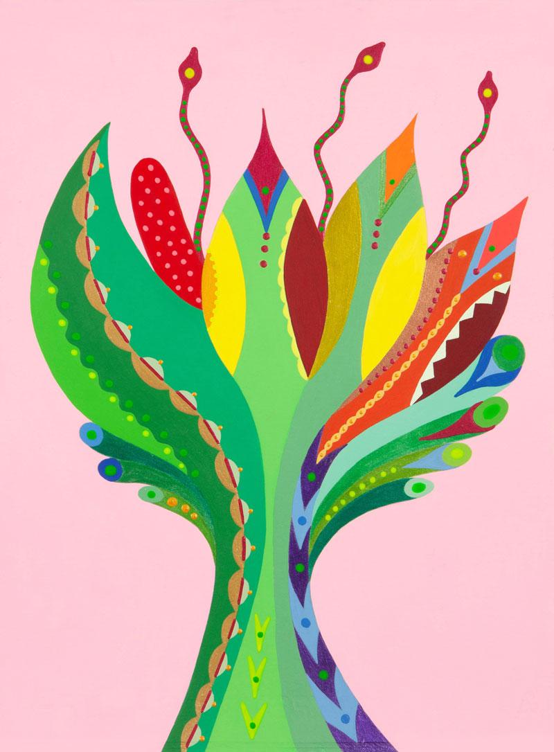 Fulvia-Mendini,-Fiore-della-passione,-2020,-acrilico-su-carta,-38-x-28-cm