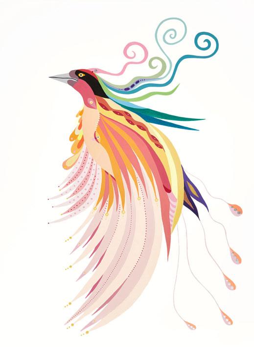 Fulvia Mendini, L'uccello del paradiso, 2018, acrylic on paper, 77×56 cm