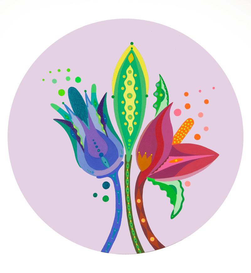 Fulvia-Mendini,-Tre-fiori,-2021,-acrilico-su-tela,-diametro-50-cm-