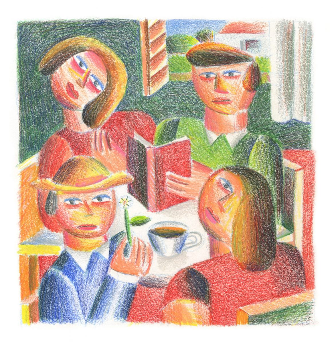 Andy Rementer, Book Club, 2020, colored pencil on paper, 30,5×22,9 cm, CROP