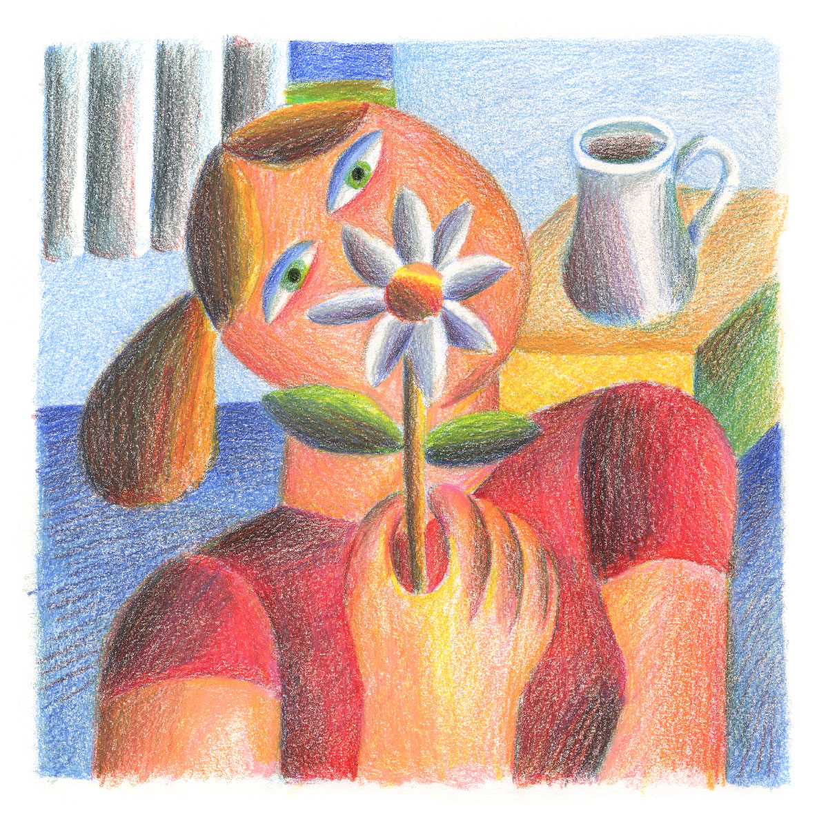 Andy-Rementer,-Flower-Girl,-2020,-colored-pencil-on-paper,-30,5×22,9-cm,-web